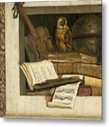 Still Life With Books Sheet Music Violin Celestial Globe And An Owl Metal Print