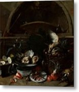 Still Life With Bottles And Oysters Metal Print