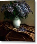 Still Life With Bouqet Of Fresh Lilac Metal Print