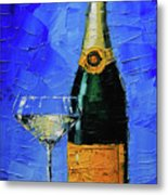 Still Life With Champagne Bottle And Glass Metal Print