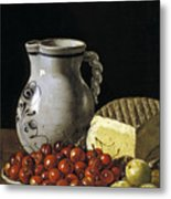 Still Life With Cherries  Cheese And Greengages Metal Print