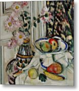 Still Life With Daisies And Fruit Metal Print