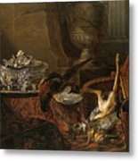 Still Life With Dead Game And A Silver Tureen On A Turkish Carpet Metal Print