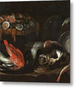 Still Life With Fish And Oysters  Metal Print