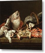 Still Life With Fishes, A Crab And Oysters Metal Print