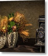 Still Life with Flowers and Camera Metal Print