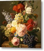 Still Life With Flowers And Fruit Metal Print by Jan Frans van Dael