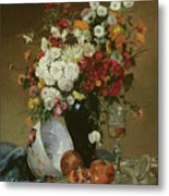 Still Life With Flowers And Pomegranates Metal Print