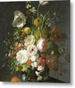 Still Life With Flowers In A Glass Vase Metal Print