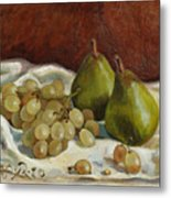 Still Life with French Grapes Metal Print