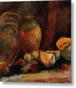 Still Life With Fruits And Pumpkin Metal Print