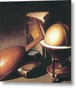 Still Life With Globe Lute And Books Metal Print