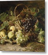 Still-life With Grapes And Pears Metal Print