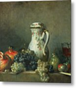 Still Life With Grapes And Pomegranates Metal Print