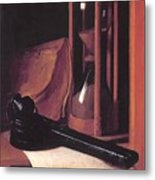 Still Life With Hourglass Pencase And Print Metal Print