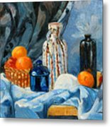 Still Life With Jugs And Oranges Metal Print