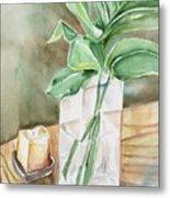 Still Life With Leaf Metal Print