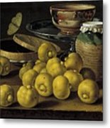 Still Life With Lemons And A Pot Of Honey Metal Print