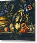 Still Life With Melons Apples Cherries Figs And Grapes On A Stone Ledge Metal Print