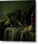 Still Life With Metal Dishes, Fruits And Fresh Flowers Metal Print