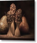 Still Life With Mushrooms And Pears I Metal Print