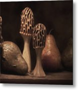 Still Life With Mushrooms And Pears II Metal Print