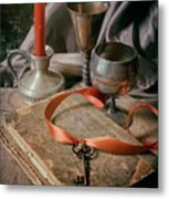 Still Life With Old Book And Metal Dishes Metal Print