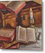 Still Life With Old Books Metal Print