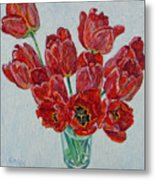 Still Life With Open Red Tulips Metal Print