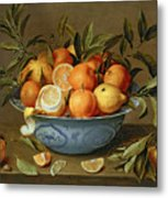 Still Life With Oranges And Lemons In A Wan-li Porcelain Dish  Metal Print