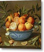 Still Life With Oranges And Lemons In A Wan-li Porcelain Dish  Metal Print by Jacob van Hulsdonck