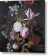 Still Life With Peonies Roses Irises Poppies And A Tulip With Butterflies A Dragonfly And Other Inse Metal Print
