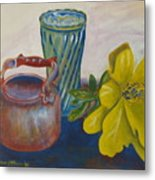 Still Life With Plastic Flower Metal Print