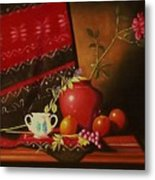 Still Life With Red Vase. Metal Print