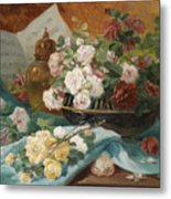Still Life With Roses In A Cup Ornamental Object And Score Metal Print