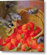 Still Life With Strawberries And Bluetits Metal Print