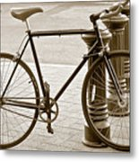 Still Life With Trek Bike In Sepia Metal Print