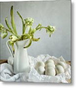 Still Life With Tulips And Eggs Metal Print