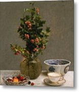 Still Life With Vase Of Hawthorn, Bowl Of Cherries, Japanese Bowl, And Cup And Saucer 1872 Metal Print