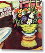 Still Life With Venison And Ostrich Pillow By August Macke Metal Print