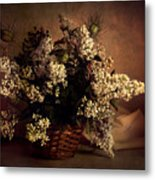 Still Life With White Flowers In The Basket Metal Print