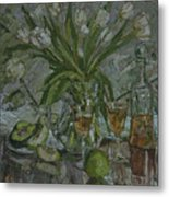 Still Life With White Tulips Metal Print