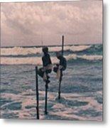 Stilt Fishermen Of Sri Lanka Metal Print