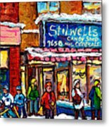 Stilwell's Candy Shop Montreal Memories Lasalle Verdun Winter City Scene Hockey Art Carole Spandau   Metal Print