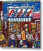 Stilwell's Candy Stop Winterscene Painting For Sale Montreal Hockey Art C Spandau Snowy Barber Shop Metal Print
