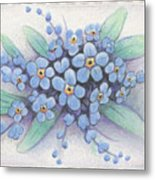 Stitched Forget-me-nots Metal Print