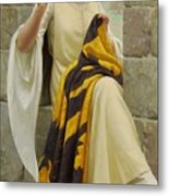 Stitching The Standard Metal Print by Edmund Blair Leighton