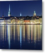 Stockholm Old City Magic Quartet Reflection In The Baltic Sea Metal Print