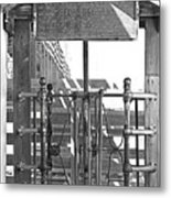 Stockyard Gate Black And White Metal Print