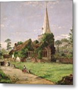 Stoke Poges Church Metal Print by Jasper Francis Cropsey